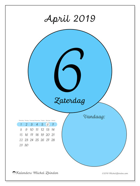 Kalender april 2019, 45-6MZ. Dagelijkse kalender om gratis te printen.