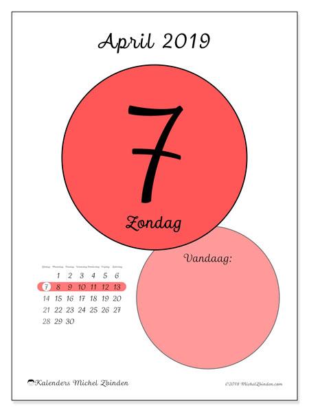 Kalender april 2019, 45-7ZZ. Dagelijkse kalender om gratis te printen.