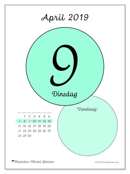 Kalender april 2019, 45-9ZZ. Dagelijkse kalender om gratis te printen.