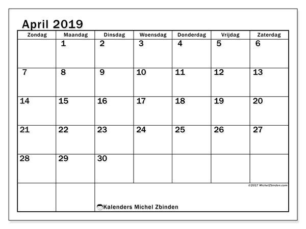 Kalender april 2019, 50ZZ. Kalender voor de maand die gratis moet worden afgedrukt.