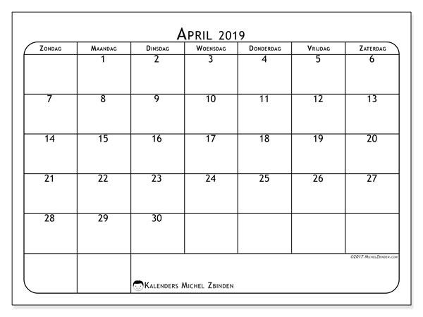 Kalender april 2019, 51ZZ. Agenda om gratis te printen.