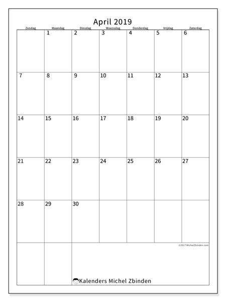 Kalender april 2019, 52ZZ. Kalender om gratis af te drukken.