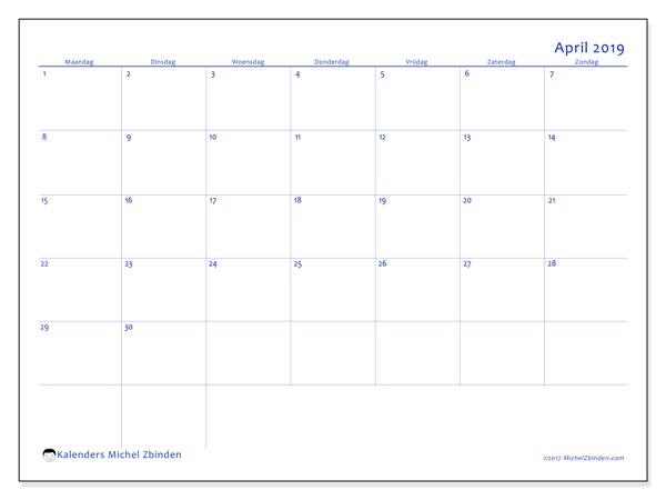 Kalender april 2019, 55MZ. Kalender voor de maand die gratis moet worden afgedrukt.