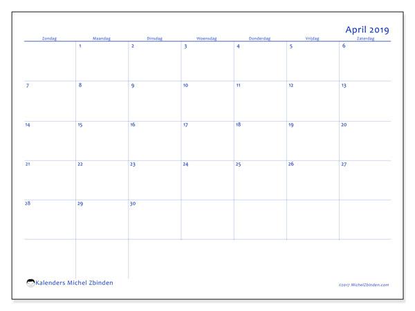 Kalender april 2019, 55ZZ. Gratis kalender om af te drukken.
