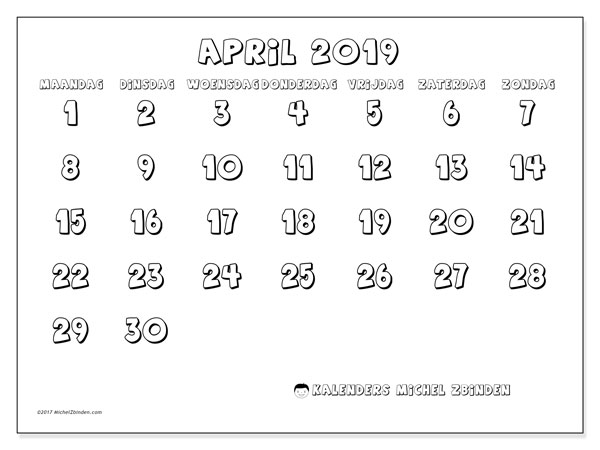 Kalender april 2019, 56MZ. Schema om gratis te printen.