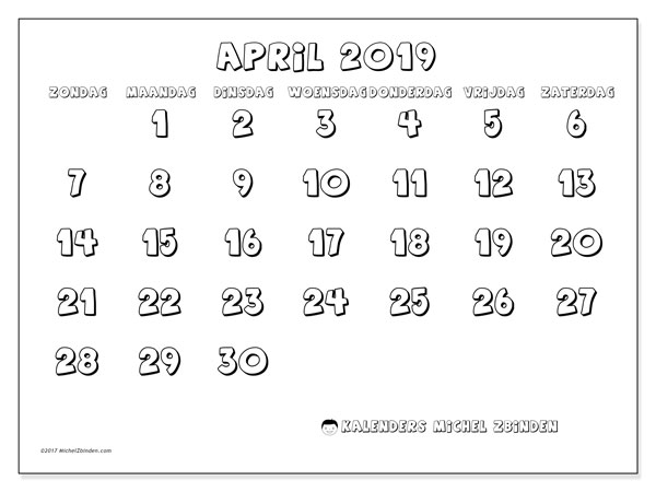Kalender april 2019, 56ZZ. Agenda om gratis te printen.