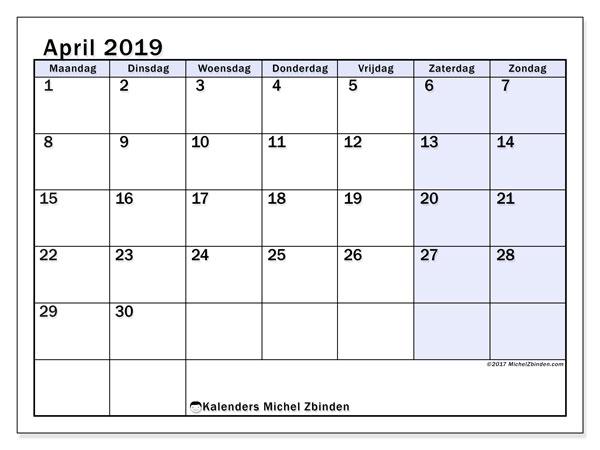 Kalender april 2019, 57MZ. Agenda om gratis te printen.