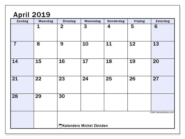 Kalender april 2019, 57ZZ. Maandkalender om gratis te printen.