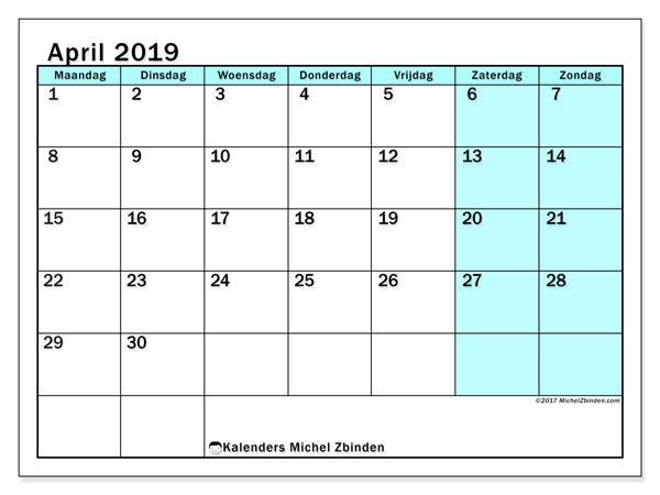 Kalender april 2019, 59MZ. Kalender voor de maand die gratis moet worden afgedrukt.