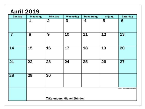 Kalender april 2019, 59ZZ. Kalender om gratis te printen.