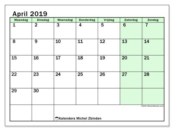 Kalender april 2019, 60MZ. Gratis kalender om af te drukken.