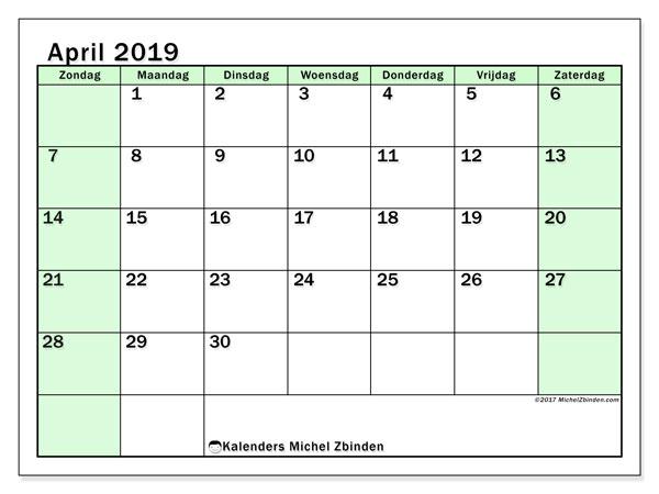 Kalender april 2019, 60ZZ. Agenda om gratis te printen.