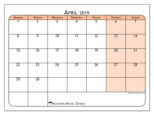 Kalender april 2019, 61MZ. Gratis afdrukbare kalender.