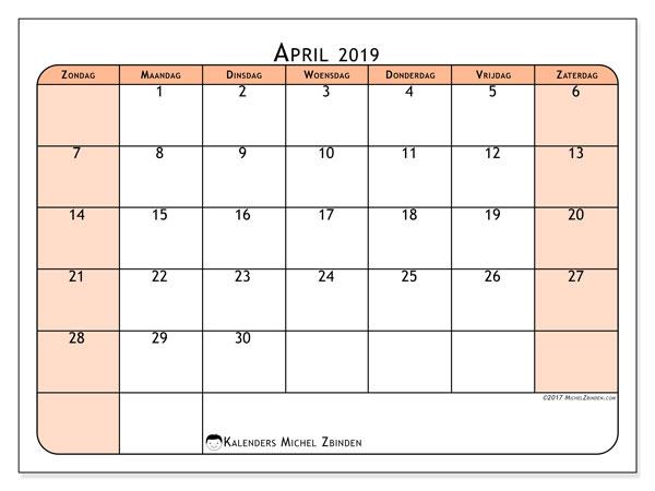Kalender april 2019, 61ZZ. Schema om gratis te printen.