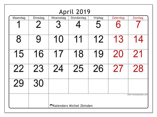 Kalender april 2019, 62MZ. Kalender om gratis te printen.