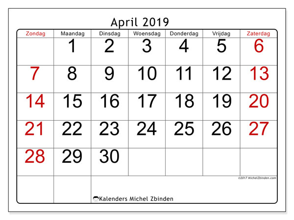 Kalender april 2019, 62ZZ. Kalender voor de maand die gratis moet worden afgedrukt.