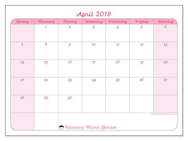 Kalender april 2019, 63ZZ. Schema om gratis te printen.