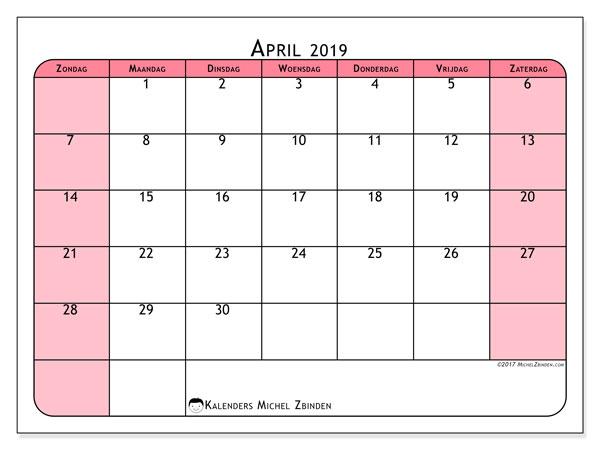 Kalender april 2019, 64ZZ. Gratis afdrukbare kalender.