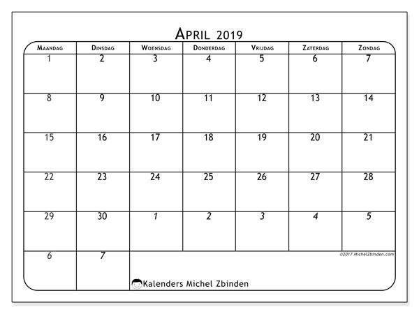 Kalender april 2019, 67MZ. Gratis kalender om af te drukken.