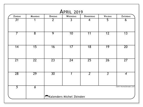 Kalender april 2019, 67ZZ. Gratis afdrukbare kalender.