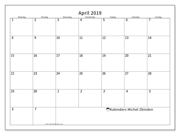 Kalender april 2019, 70MZ. Maandkalender om gratis te printen.