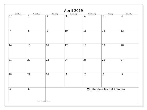 Kalender april 2019, 70ZZ. Kalender voor de maand die gratis moet worden afgedrukt.