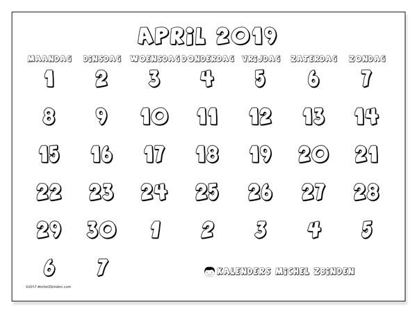 Kalender april 2019, 71MZ. Maandkalender om gratis te printen.