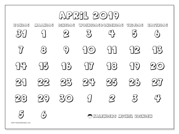Kalender april 2019, 71ZZ. Maandkalender om gratis te printen.