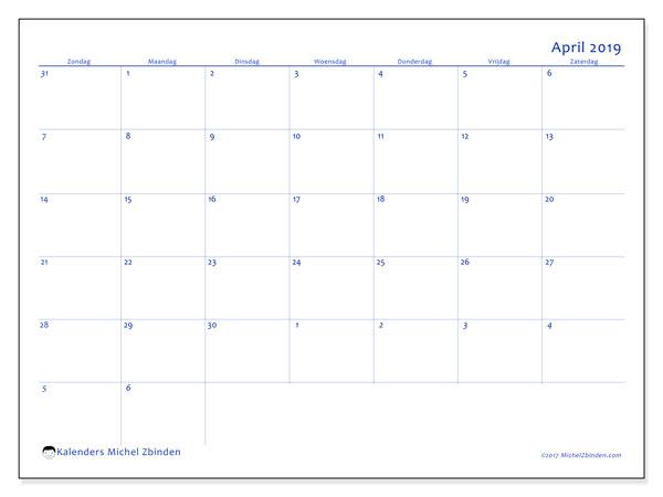 Kalender april 2019, 73ZZ. Gratis kalender om af te drukken.