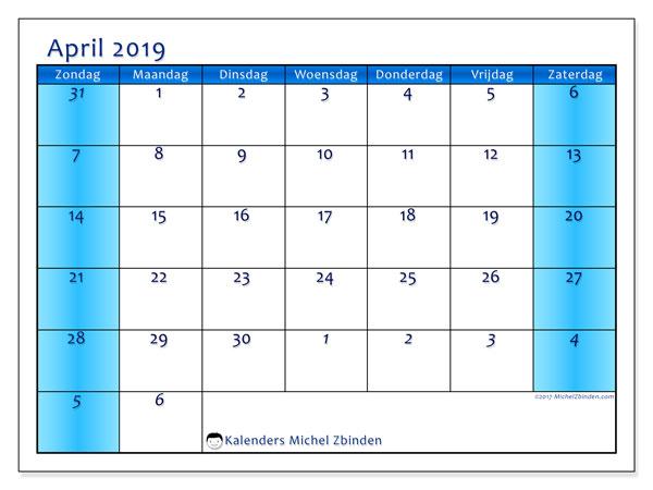 Kalender april 2019, 75ZZ. Maandkalender om gratis te printen.