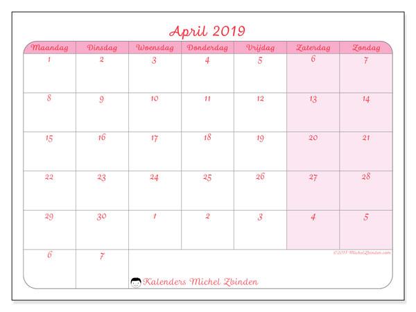 Kalender april 2019 (76MZ). Kalender voor de maand die gratis moet worden afgedrukt.