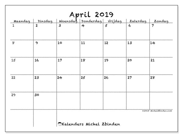 Kalender april 2019, 77MZ. Kalender om gratis te printen.
