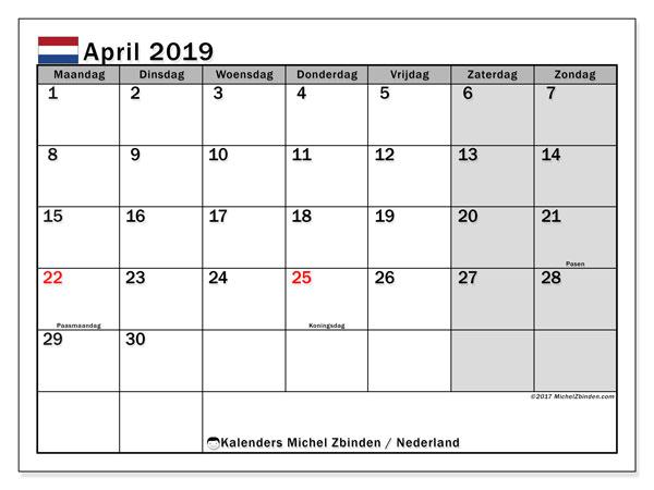 Kalender april 2019 met de feestdagen van Nederland. Gratis afdrukbare kalender.