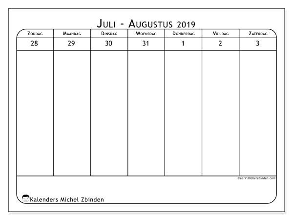 Kalender augustus 2019, 43-1ZZ. Gratis printbare kalender.