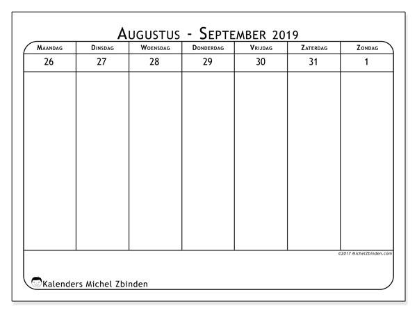 Kalender augustus 2019, 43-5MZ. Schema om gratis te printen.