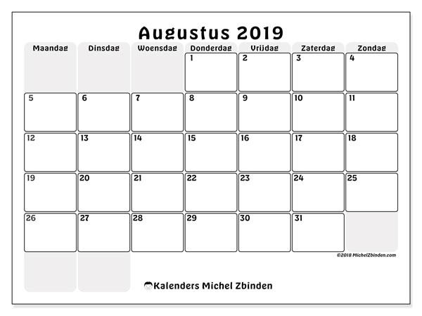 Kalender augustus 2019, 44MZ. Kalender om gratis te printen.