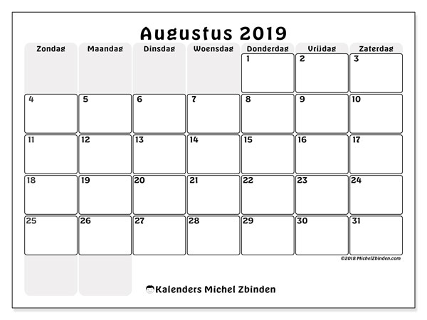 Kalender augustus 2019, 44ZZ. Agenda om gratis te printen.
