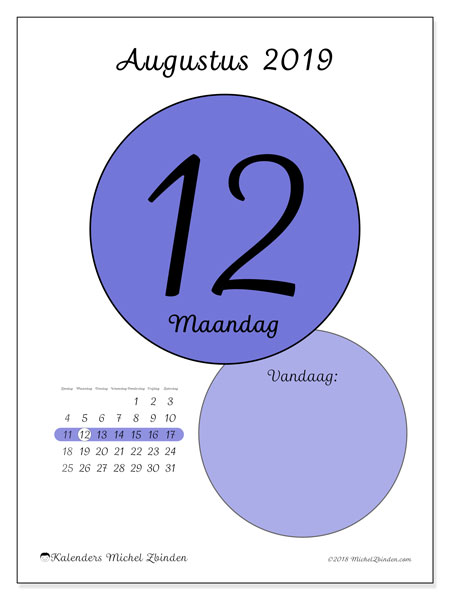 Kalender augustus 2019, 45-12ZZ. Kalender voor de dag om gratis te printen.