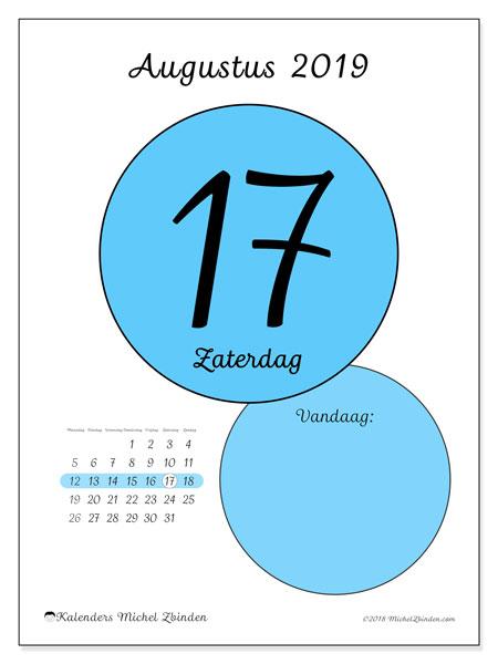 Kalender augustus 2019, 45-17MZ. Dagelijkse kalender om gratis te printen.
