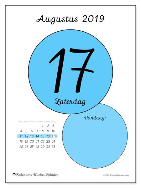 Kalender augustus 2019, 45-17ZZ. Dagelijkse kalender om gratis te printen.