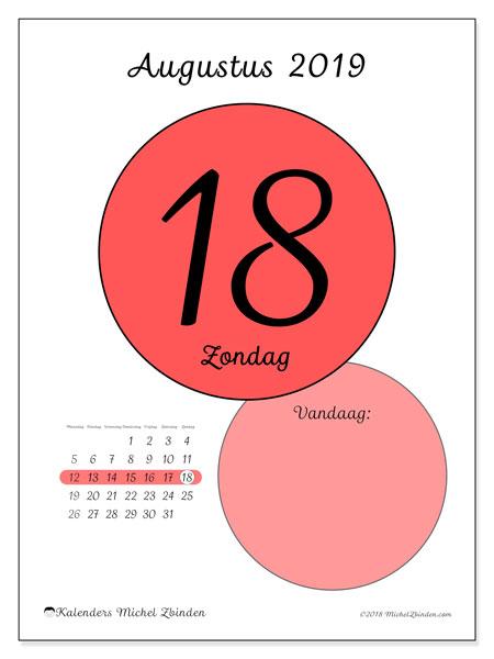 Kalender augustus 2019, 45-18MZ. Kalender voor de dag om gratis te printen.