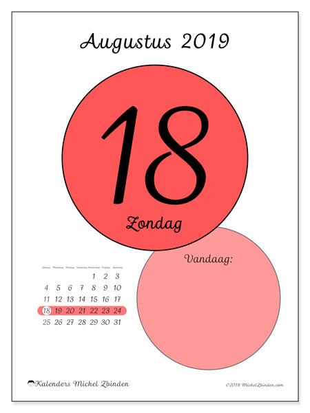 Kalender augustus 2019, 45-18ZZ. Kalender voor de dag om gratis te printen.