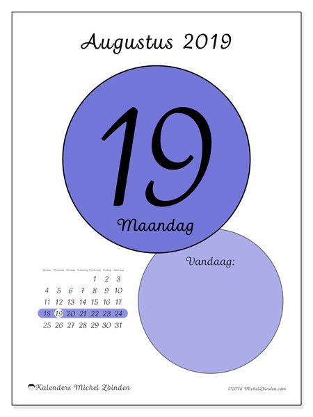 Kalender augustus 2019, 45-19ZZ. Dagelijkse kalender om gratis te printen.