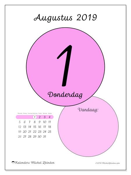 Kalender augustus 2019, 45-1MZ. Dagelijkse kalender om gratis te printen.