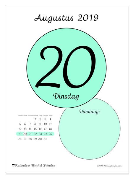 Kalender augustus 2019, 45-20MZ. Kalender voor de dag om gratis te printen.