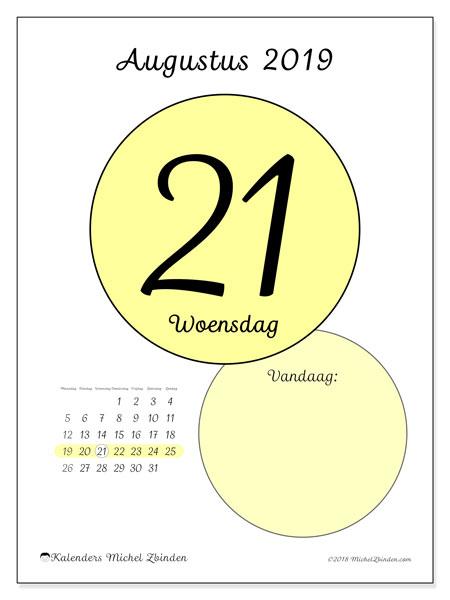 Kalender augustus 2019, 45-21MZ. Dagelijkse kalender om gratis te printen.