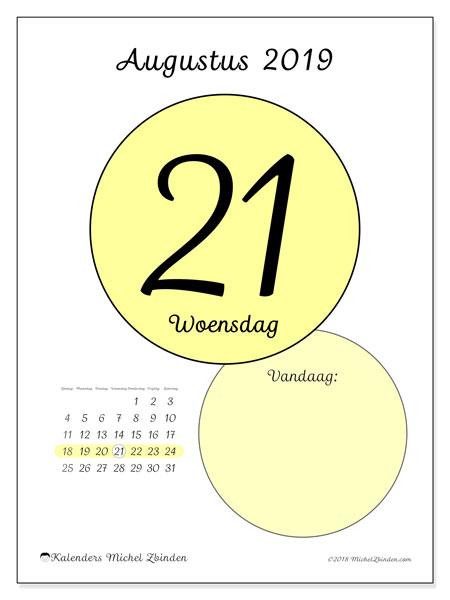 Kalender augustus 2019, 45-21ZZ. Kalender voor de dag om gratis te printen.