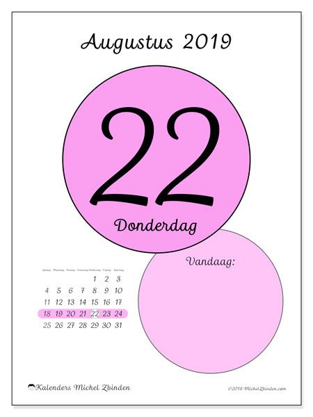 Kalender augustus 2019, 45-22ZZ. Kalender voor de dag om gratis te printen.