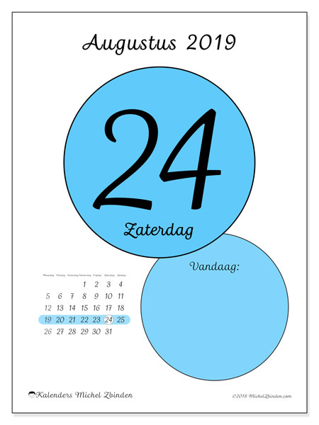 Kalender augustus 2019, 45-24MZ. Dagelijkse kalender om gratis te printen.