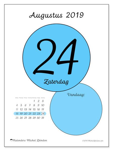 Kalender augustus 2019, 45-24ZZ. Dagelijkse kalender om gratis te printen.